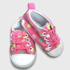 Baby Gear Pink Polkadot Cotton Slip On Shoes